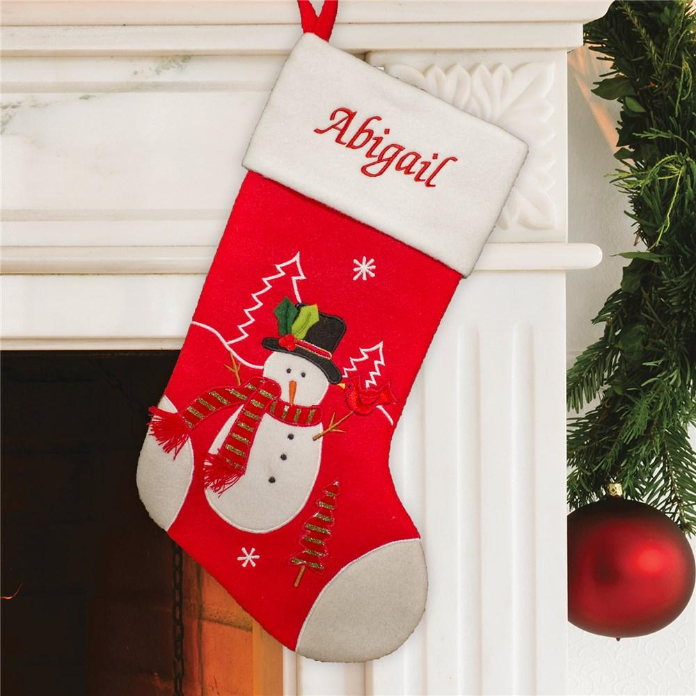 Personalized Embroidered Red And White Snowman Stocking