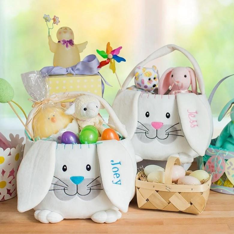 Personalized Embroidered Plush Easter Basket