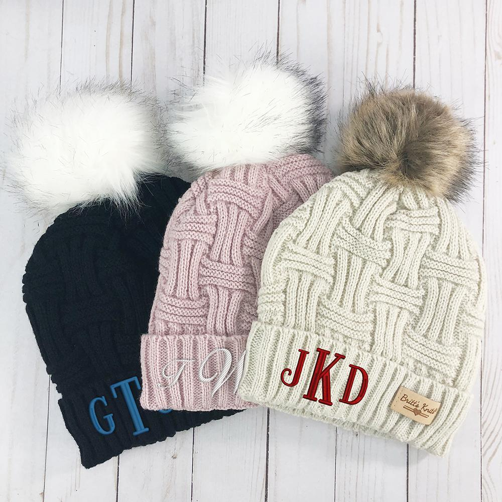 Personalized Monogram Cable Knit Hat Embroidered