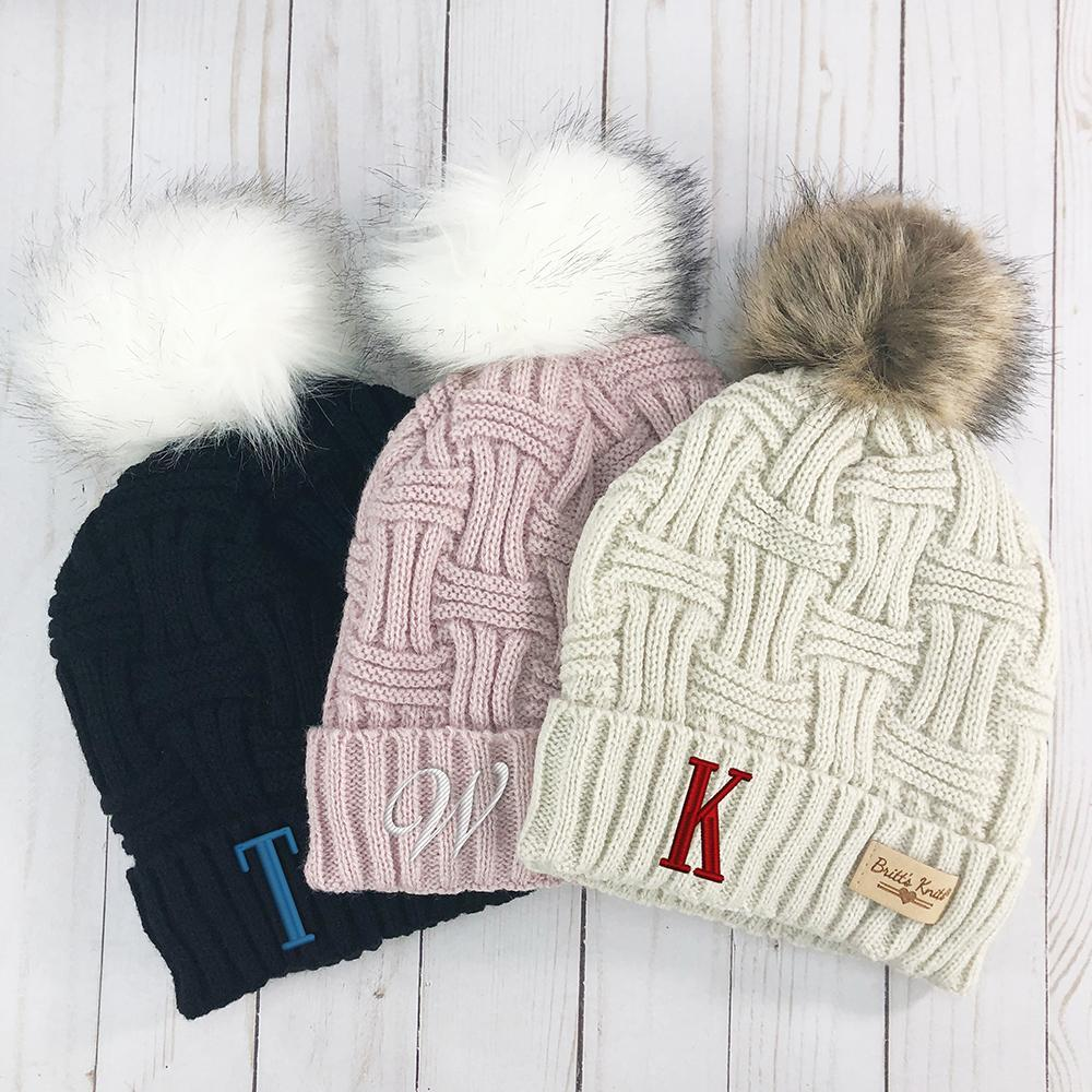 Personalized Embroidered Initial Cable Knit Plush Hat