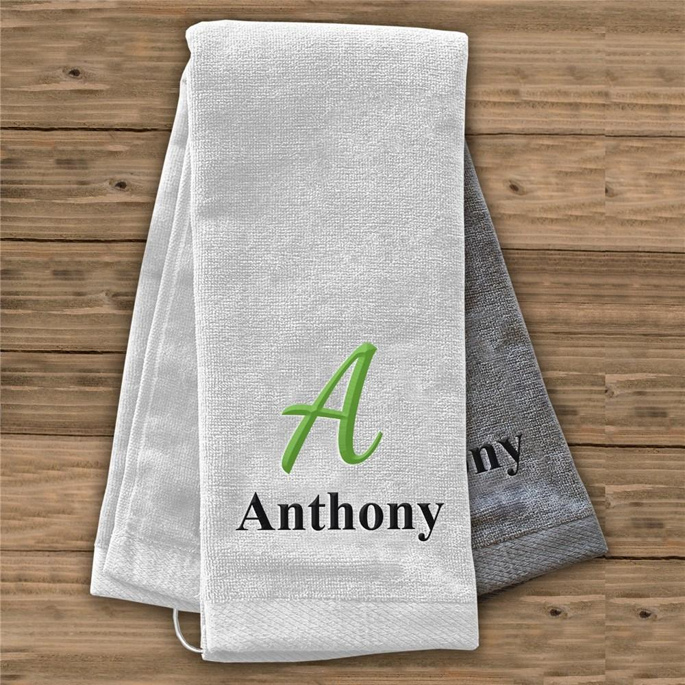 Personalized Embroidered Initial And Name Golf Towel
