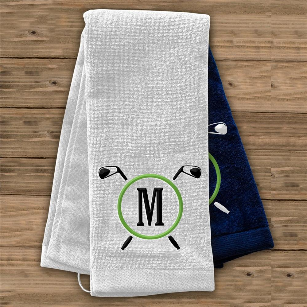Personalized Embroidered Golf Clubs Initial Golf Towel