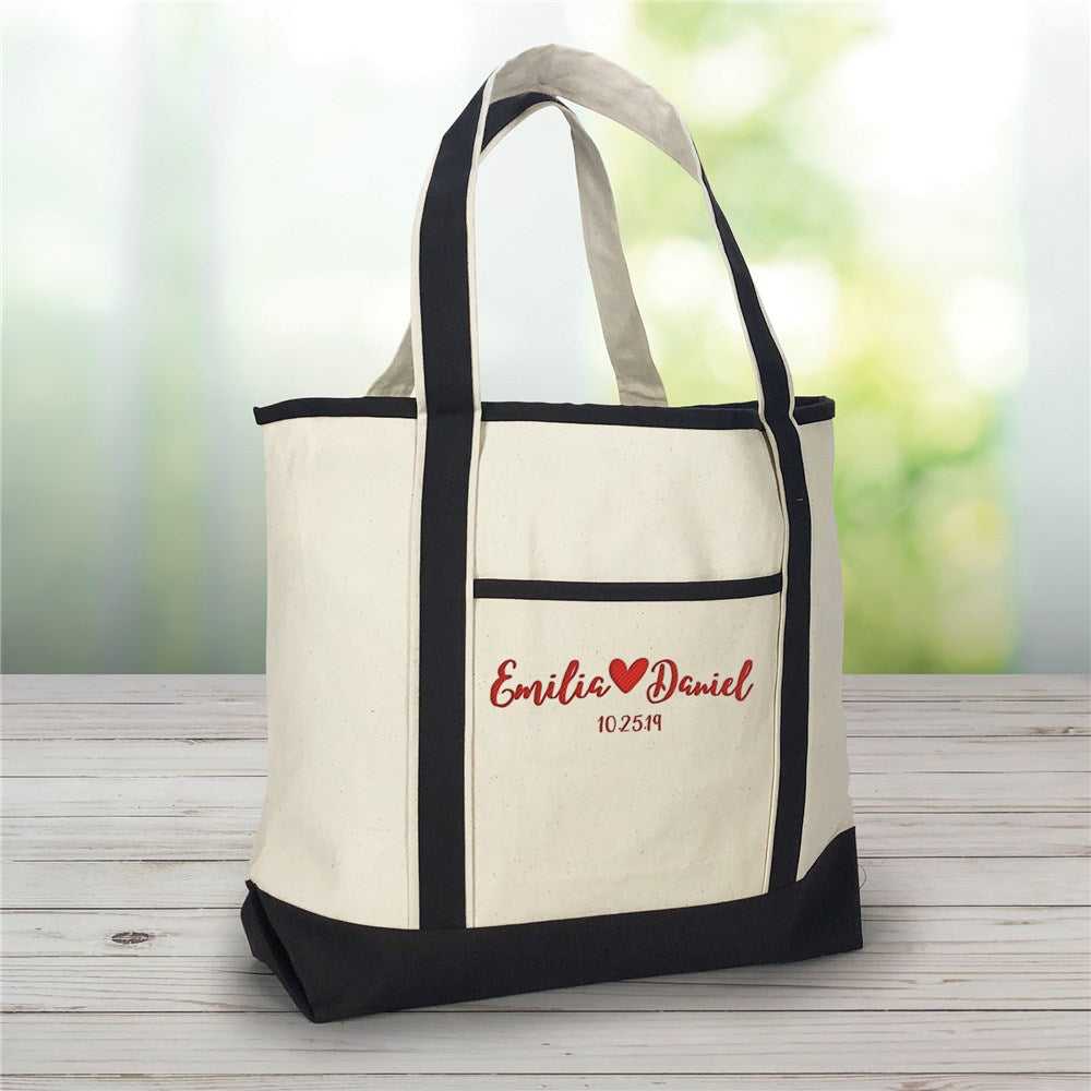 Personalized Embroidered Couples Names With Heart Canvas Tote Bag