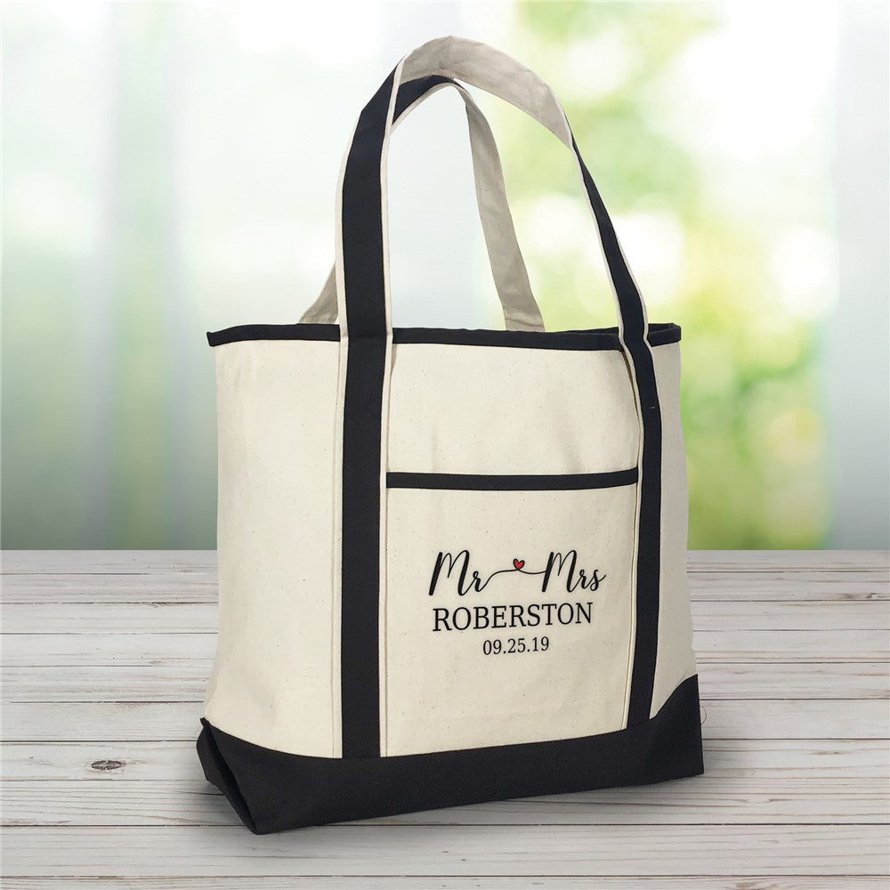 Personalized Embroidered Mr. and Mrs. Canvas Tote Bag