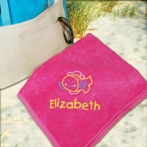 Personalized Fish Beach Towel Embroidered