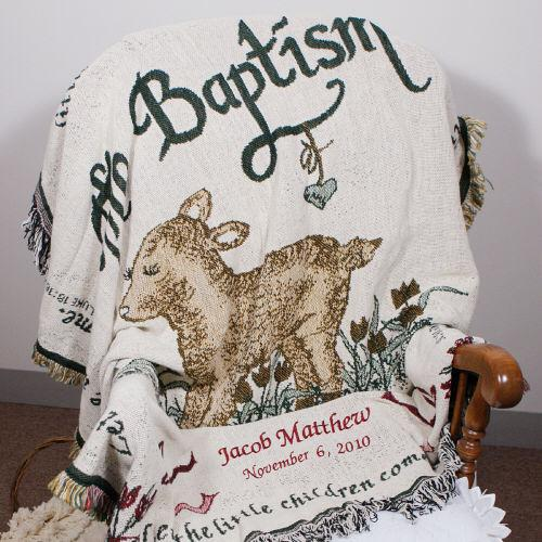 Personalized Embroidered Baptism Throw