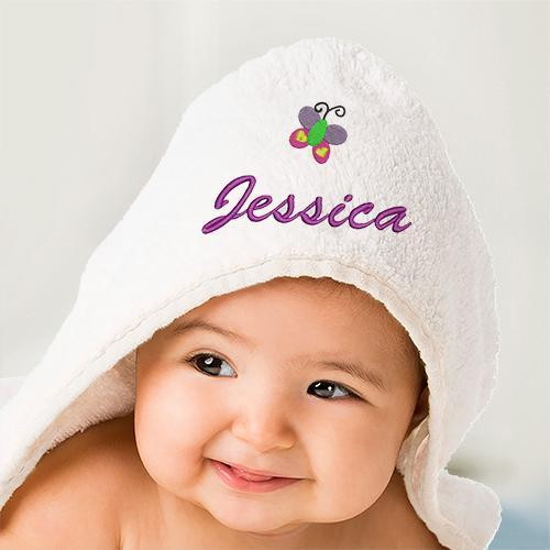 Personalized Embroidered Icon Hooded Baby Towel