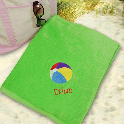 Personalized Embroidered Beach Ball Beach Towel