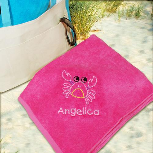 Personalized Embroidered Crab Pink Beach Towel