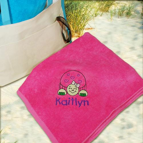 Personalized Embroidered Turtle Pink Beach Towel