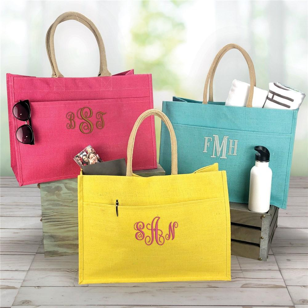 Personalized Jute Pocket Tote Bag - Embroidered