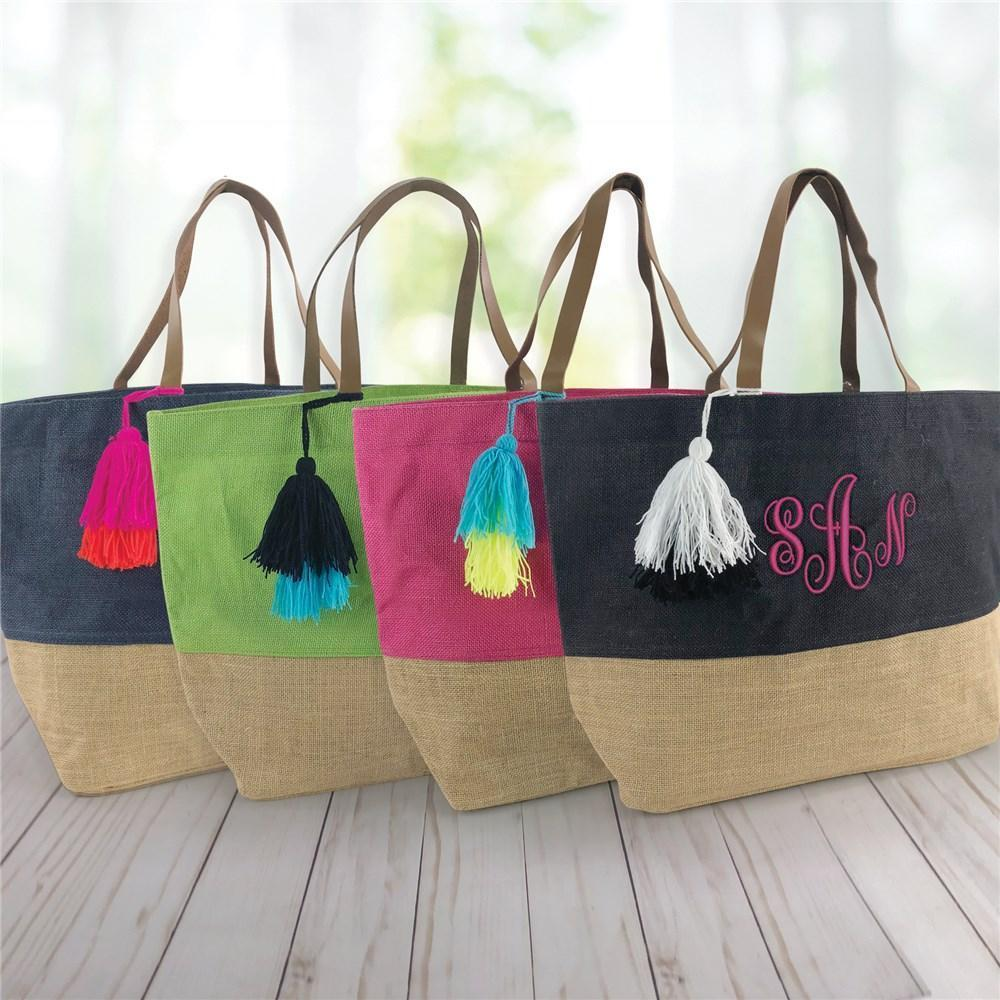 Personalized Embroidered Large Jute Tote Bag