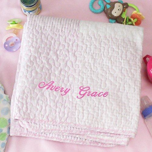 Personalized Embroidered Pink Baby Quilt