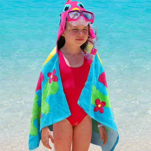 Personalized Embroidered Fish Hooded Beach Towel