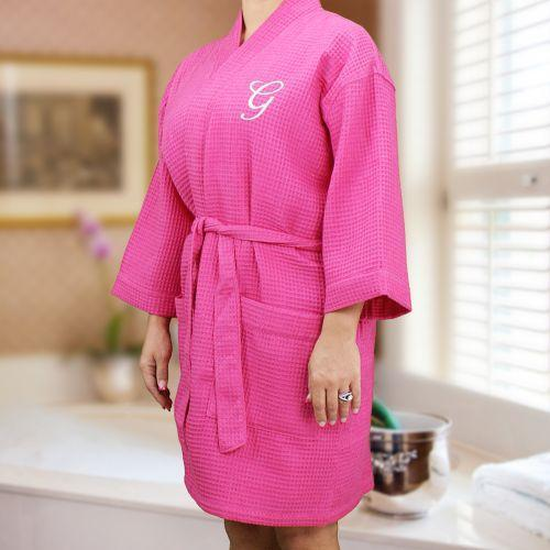 Personalized Embroidered Initial Waffle Weave Robe - Valentine's Day Gift