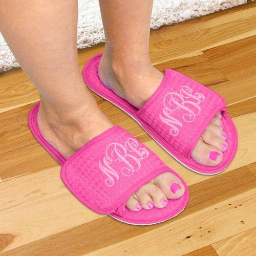 Personalized Monogram Waffle Weave Slippers Embroidered