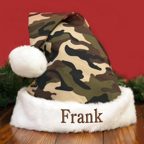 Personalized Camo Embroidered Santa Hat