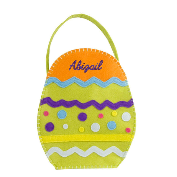 Personalized Easter Egg Basket Lime Green Orange - Gifts Happen Here - 1