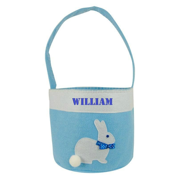 Personalized Boys Blue Easter Bunny Basket Cotton Tail Bucket - Gifts Happen Here - 1