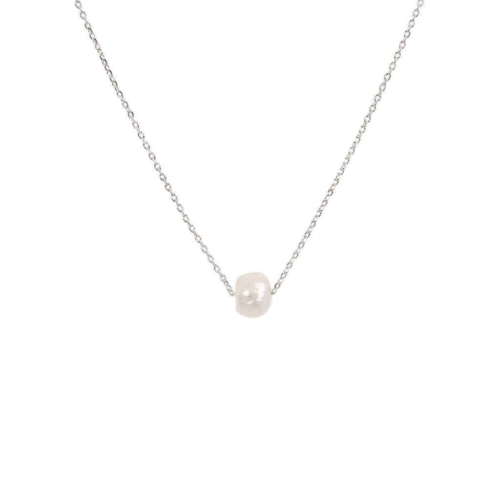 Single Pearl Necklace -Silver