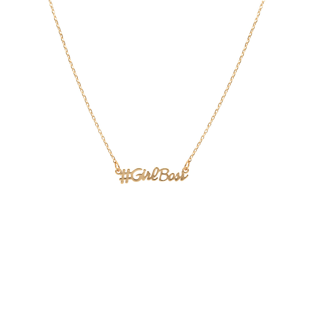 #Girlboss Script Necklace - Gold