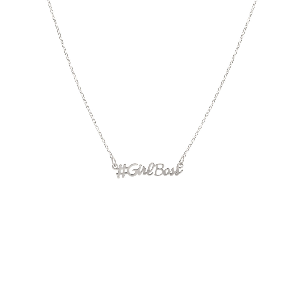 #Girlboss Script Necklace - Silver