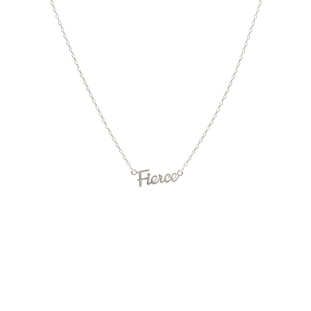 Fierce Script Necklace - Silver