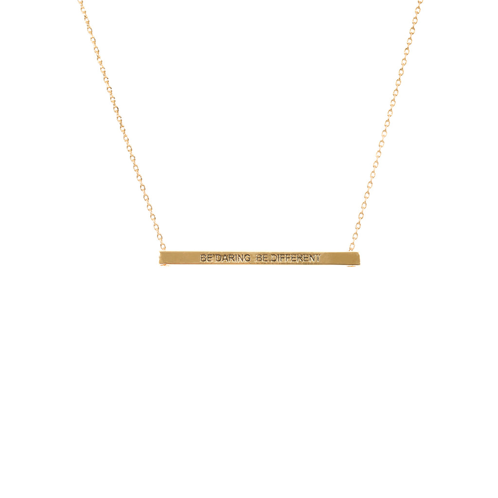 Be Daring, Be Different Bar Necklace-Gold