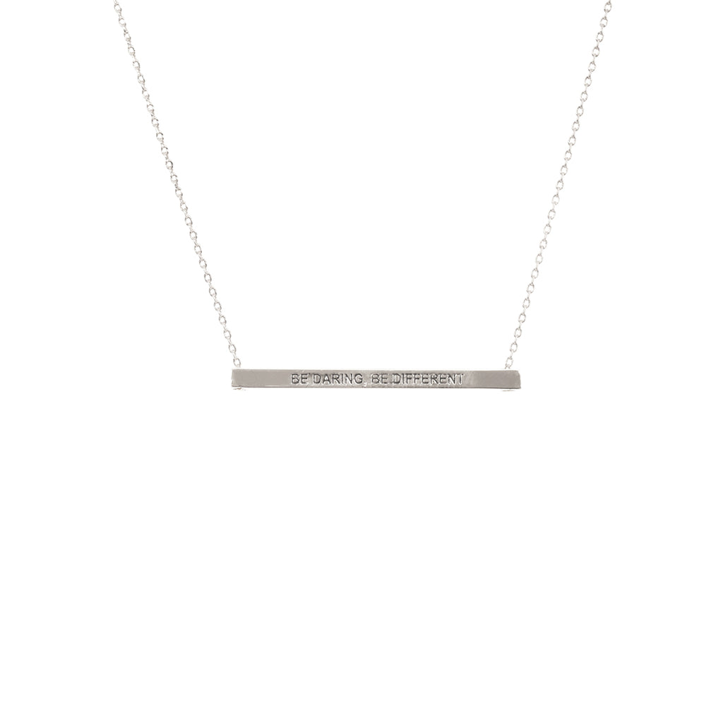 Be Daring, Be Different Bar Necklace-Silver