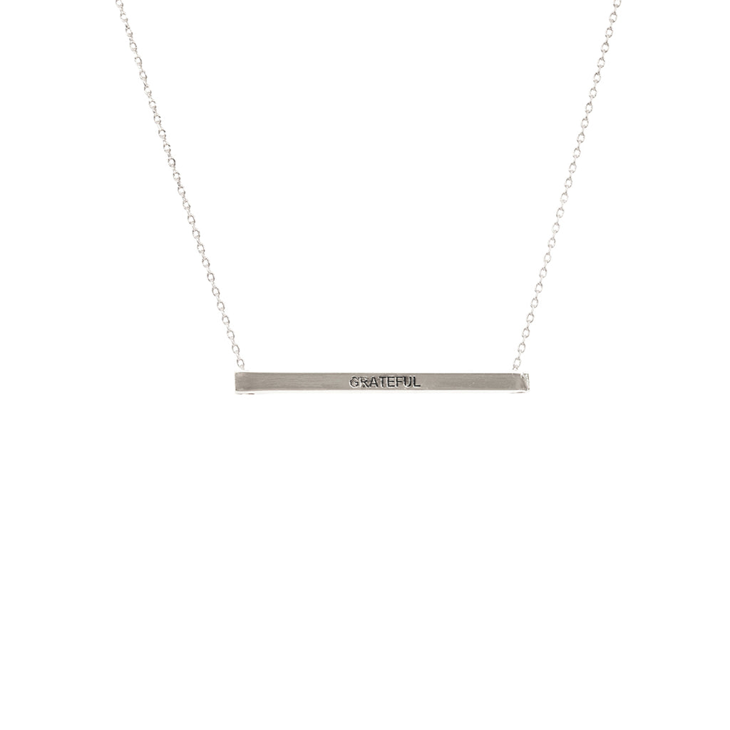 Grateful Bar Necklace - Silver