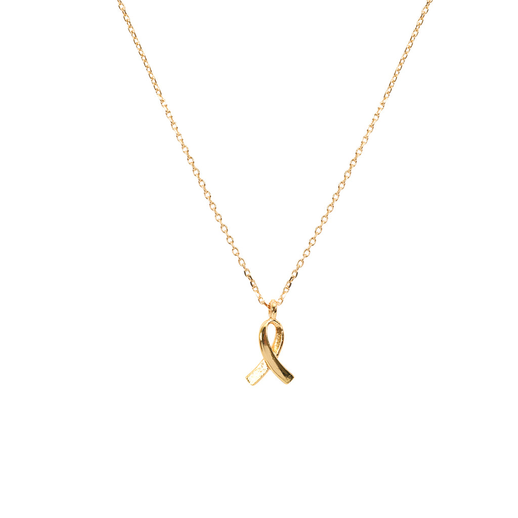 Support Ribbon Necklace - Gold