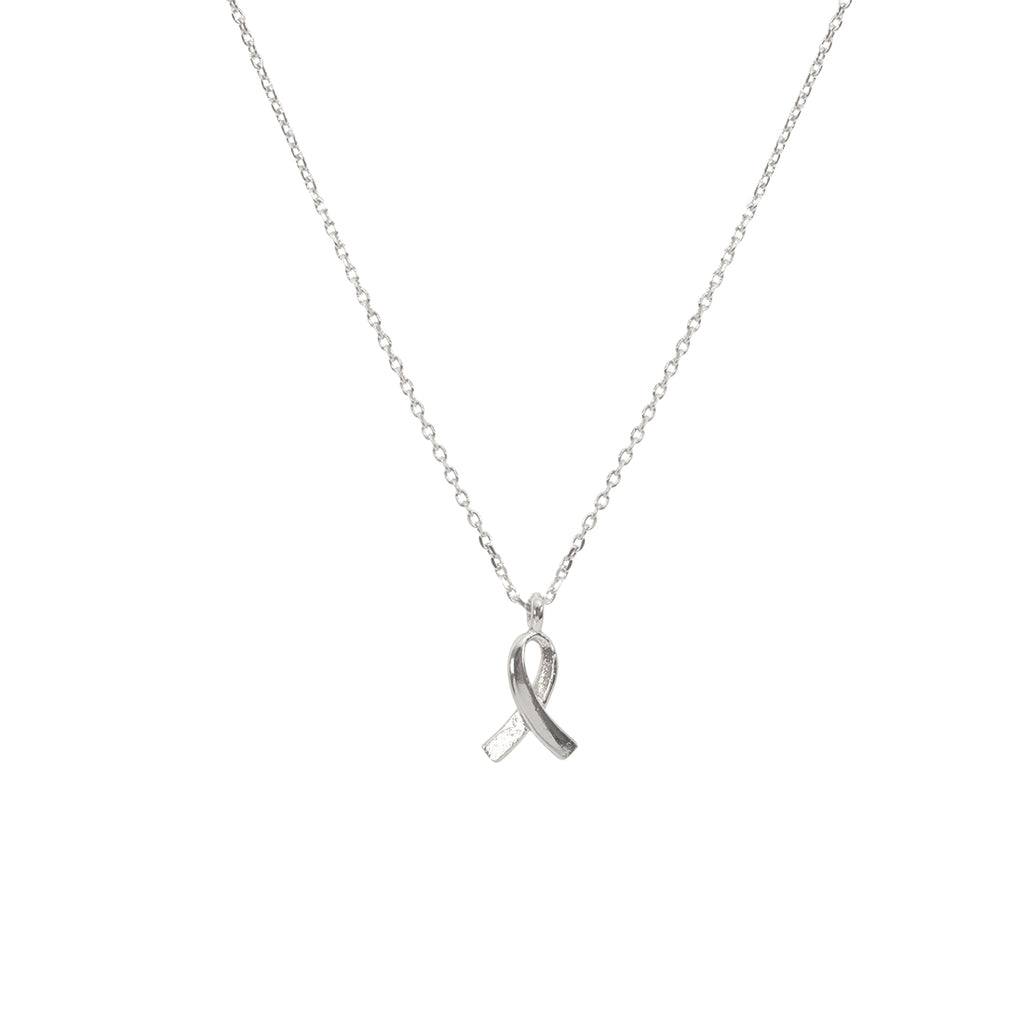 Support Ribbon Necklace - Silver