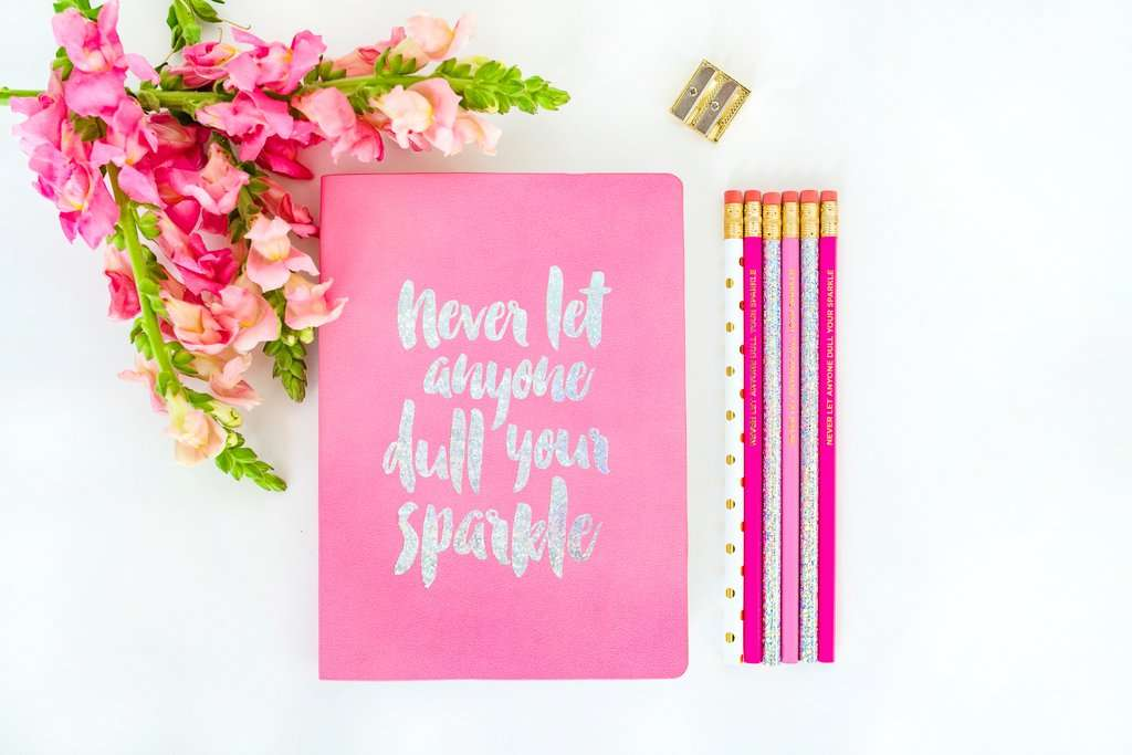 Never Let Anyone Dull Your Sparkle Notebook - Holographic Foil