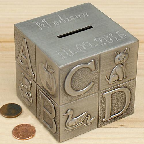 Personalized Engraved Baby Block Bank