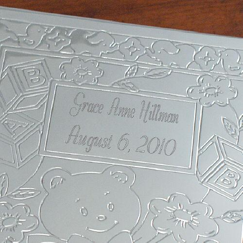Personalized New Baby Bear Silver Photo Album