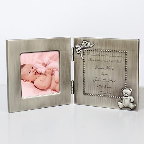 Personalized Silver Hinged Baby Frame