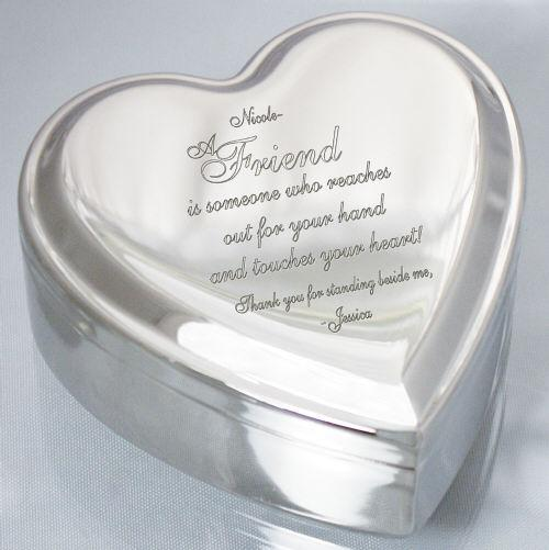 Personalized Engraved Friend Heart Jewelry Box
