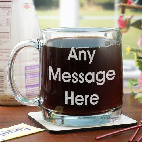 Personalized Engraved Block Message Glass Mug