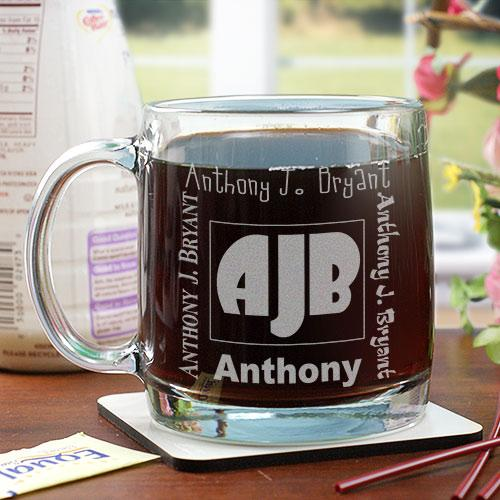 Personalized Engraved Initials Glass Mug
