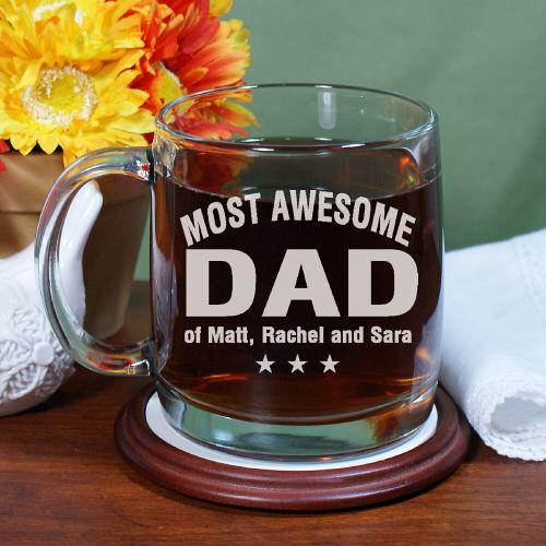 Personalized Engraved Most Awesome Parent Glass Mug