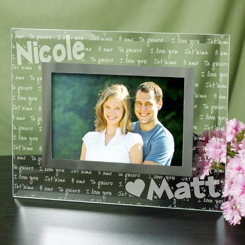 Personalized I Love You Glass Frame