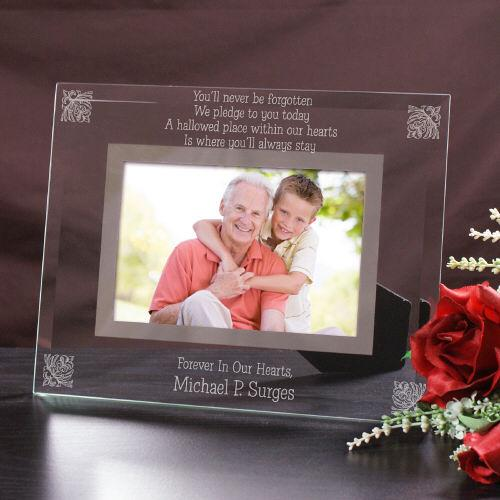 Personalized Never Forgotten Engraved Memorial Glass Picture Frame