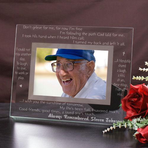 Personalized Engraved Remembrance Glass Picture Frame