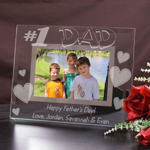 Personalized Engraved Number One Dad Glass Picture Frame