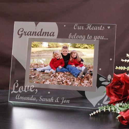 Personalized Engraved Our Hearts Belong To Glass Picture Frame