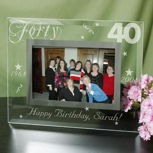Personalized Engraved 40Th Birthday Glass Picture Frame