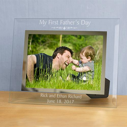 Personalized First Fathers Day Glass Engraved Picture Frame