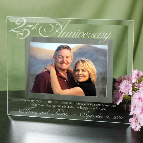 Personalized 25th Anniversary Glass Picture Frame