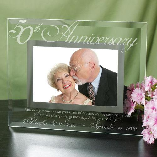 Personalized 50th Anniversary Glass Picture Frame