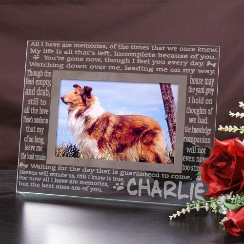 Personalized Engraved Memories Pet Memorial Glass Frame